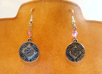 NA symbol, pink Swarovski beads, sterling silver earring wires.